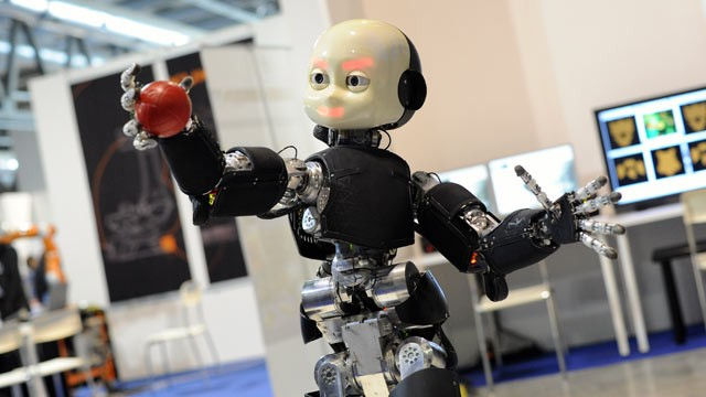 PHOTO: A humanoid robot is displayed at 2012 Robotica Humanoid and service Robots Expo At Milan Fair Center on Nov. 8, 2012, in Milan, Italy.
