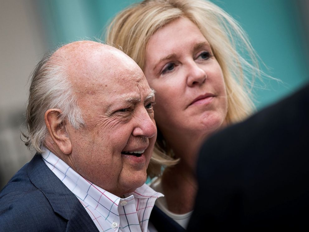 PHOTO: Fox News chairman Roger Ailes walks with his wife Elizabeth Tilson as they leave the News Corp building, July 19, 2016 in New York.