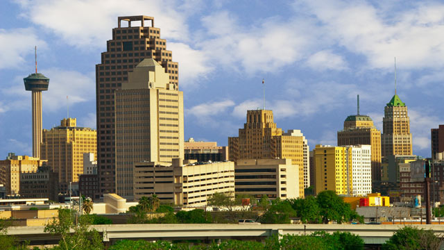 PHOTO: The skyline of San Antonio, Texas, is shown.