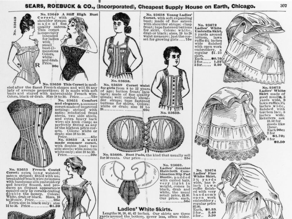 PHOTO: An advertisement for ladies corsets and underskirts by Sears, Roebuck & Co., circa 1897.