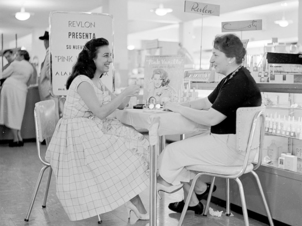 PHOTO: A customer receives a cosmetic consultation in Sears Roebuck department store in Caracas, Venezuela, circa 1955.