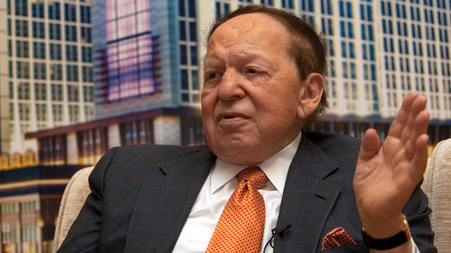 PHOTO: Sheldon Adelson, chairman and chief executive officer of Las Vegas Sands Corp. and chairman of Sands China Ltd., speaks during a news conference in Macau, China, on Sept. 20, 20