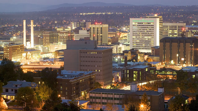 PHOTO: An evening aerial view of the city lit in Spokane, Wa.
