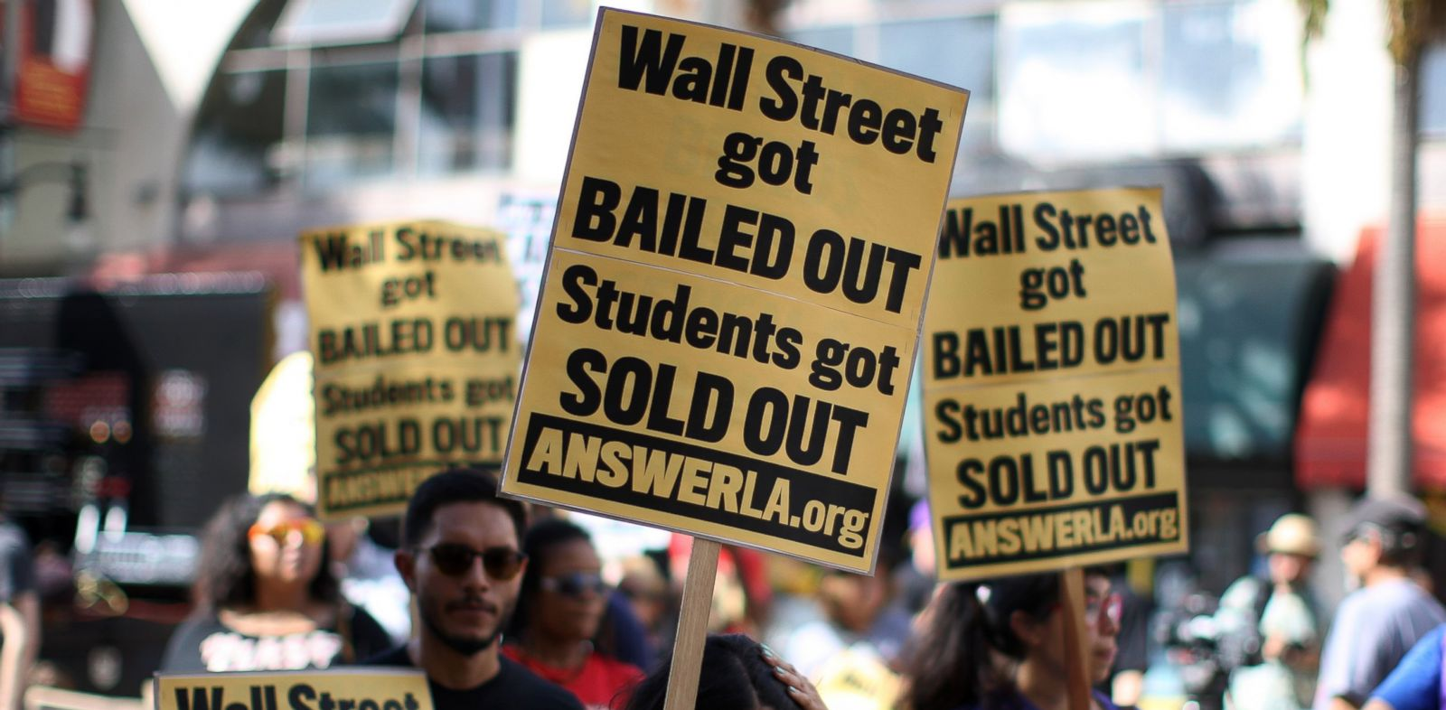 PHOTO: In this Sept. 22, 2012 fiel photo, students protest the rising costs of student loans for higher education in the Hollywood section of Los Angeles, California.