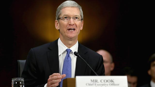 PHOTO: Apple CEO Timothy Cook delivers opening remarks while testifying before the Senate Homeland Security and Governmental Affairs Committee's Investigations Subcommittee about the company's offshore profit shifting and tax avoidance on Capitol Hill, Ma
