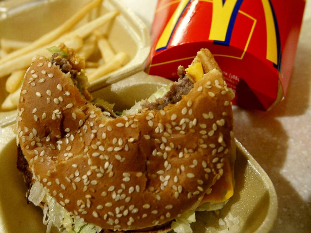 PHOTO: Food lies on the counter at a McDonalds restaurant on Nov. 27, 2003 in London.
