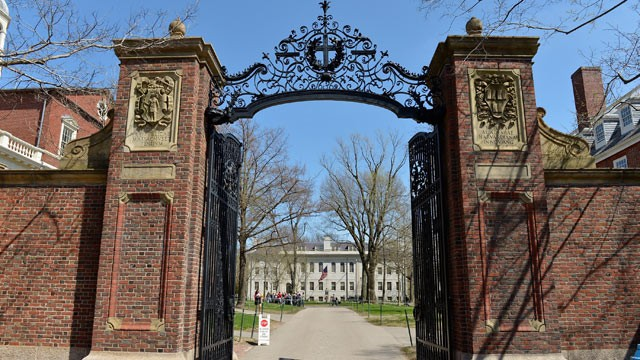 PHOTO: A general view of the gates of Harvard University on April 25, 2013 in Cambridge, Mass. College tuition has skyrocketed in recent years, leaving students with heavy debts.