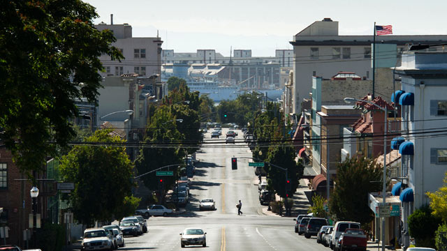 PHOTO: A pedestrian crosses Georgia Street in Vallejo, California.