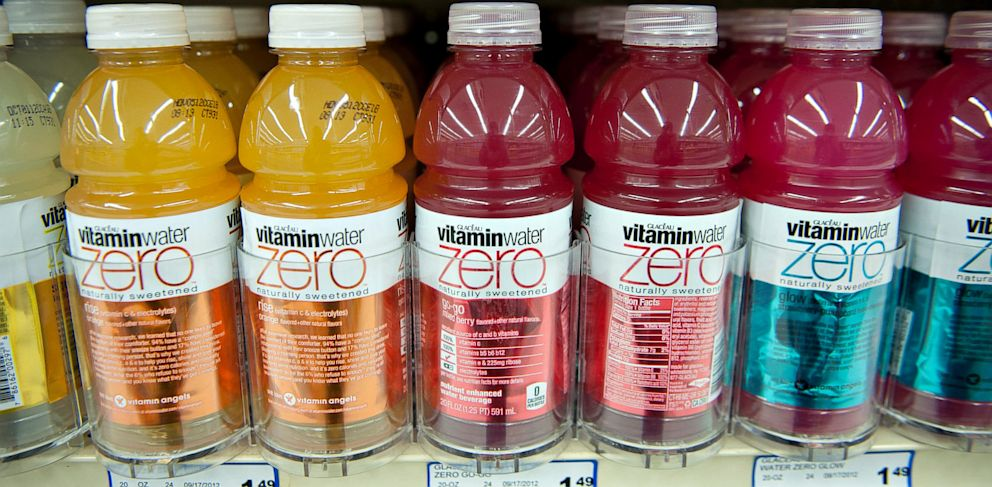 PHOTO: Coca-Cola Co. Glaceau vitamin water brand bottled water sits on display in a supermarket in Princeton, Illinois, U.S., in this Oct. 12, 2012 file photo.