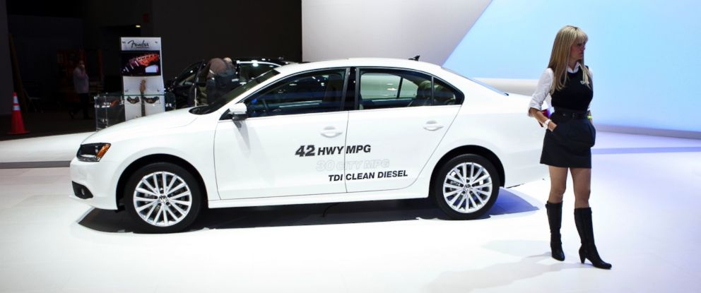 PHOTO: A model stands by a Volkswagen Jetta TDI clean diesel vehicle during the New York International Auto Show, April 21, 2011 in New York.