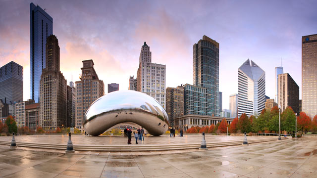 "PHOTO: The Chicago ""Bean"" sculpture is seen with the skyline in this undated stock photo."