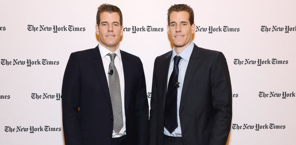 PHOTO: Tyler Winklevoss and Cameron Winklevoss at New York Times Building in this Nov. 12, 2013 file photo taken in New York City.