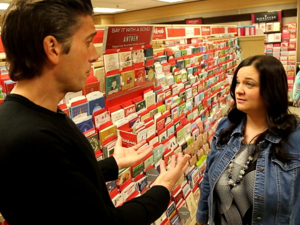 PHOTO: ABC News David Muir talks with Lisamarie Soper, Hallmark Gold Crowns district manager.
