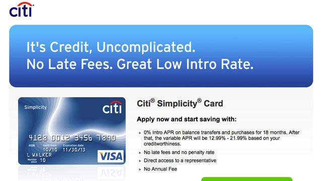 PHOTO: About half of today?s major credit cards, like, Citi?s ?Simplicity Card? offers an introductory rate of 0% APR.