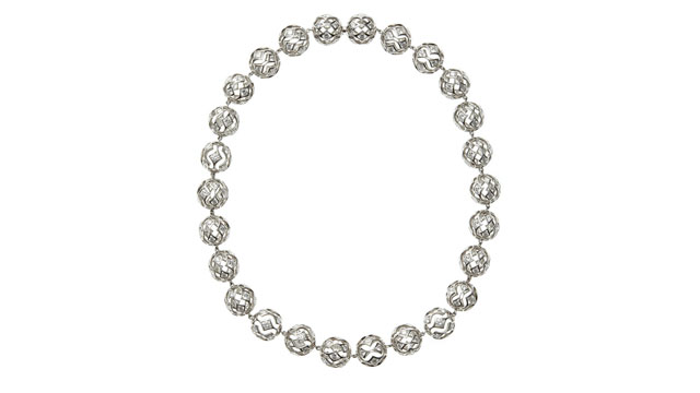 PHOTO: De Beers Sphere Cutout Diamond Shaped Necklace