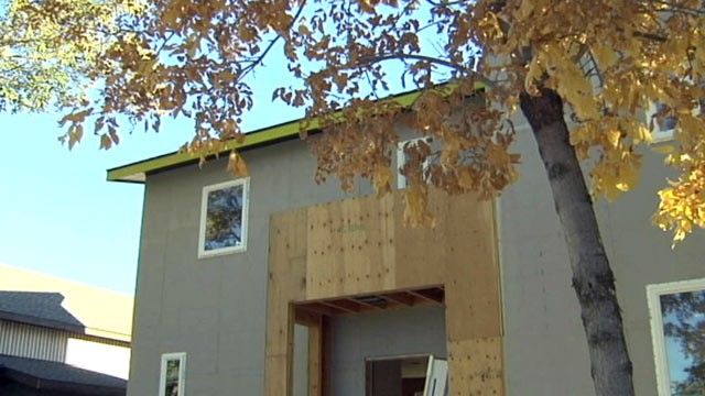 PHOTO: Lewendal, an economist turned builder, is constructing a house made entirely from American-made products.