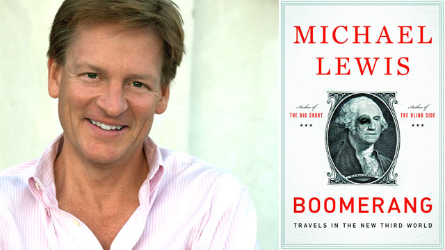 PHOTO: American best-selling author Michael Lewis talks about his latest book, Boomerang.