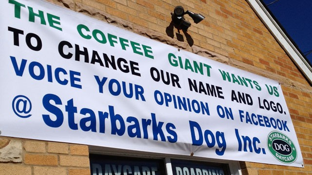 PHOTO: Starbarks Dog Daycare in Algonquin, IL has put up a banner encouraging community support and feedback in response to the controversy that resulted after Starbucks sent owners Andrea McCarthy-Grzybek and her husband Al a letter prompting them to cha