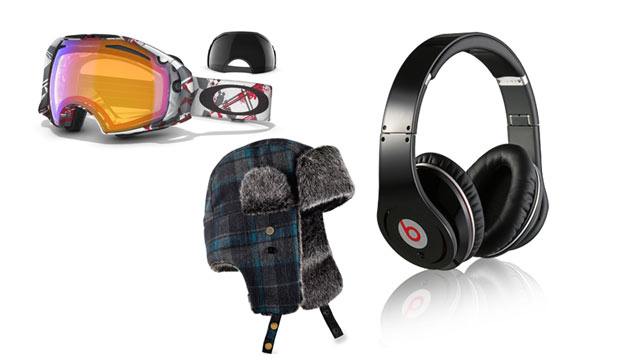 PHOTO: Oakley Airbrake Snow Goggles $220, REI Trapper Hat $34.50, and Beats by Dre $180-$350