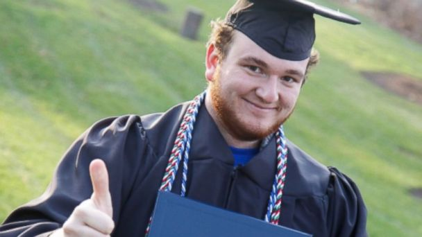 PHOTO: Alex Brenda, seen in this undated photo, is selling advertising space on his mortar board to help pay off his student loans.