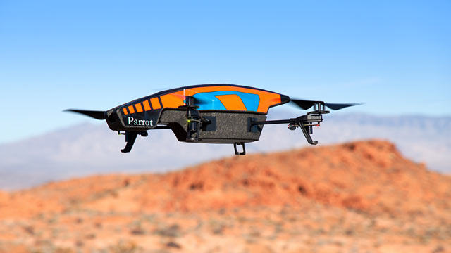 PHOTO: The AR Drone 2.0 carries two cameras, permitting it to transmit mid-air photos and video in real time.