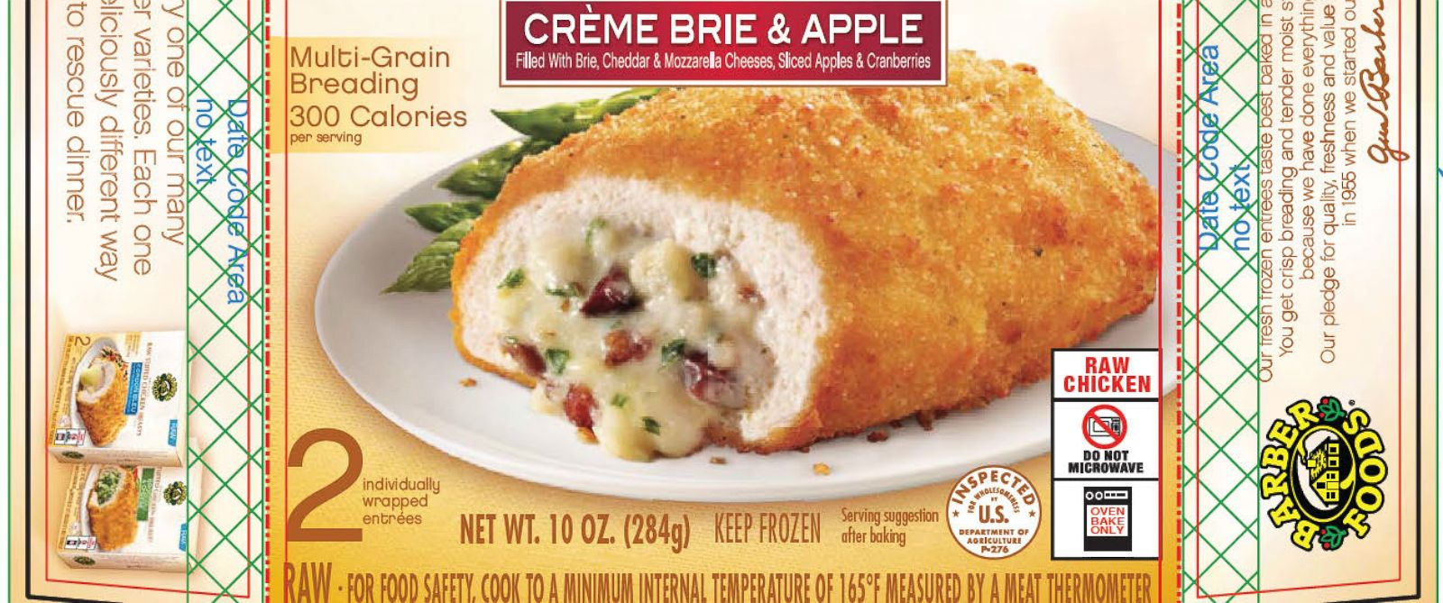 PHOTO: Barber Foods is recalling more than 1.7 million pounds of frozen, raw stuffed chicken products because of fears of salmonella.