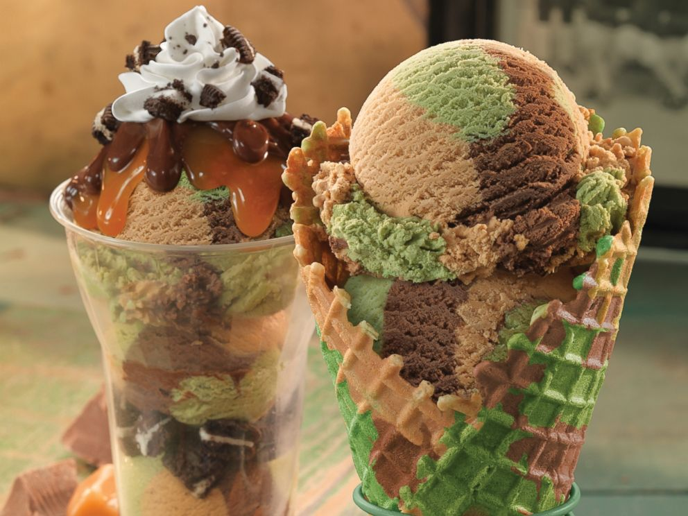 PHOTO: Baskin-Robbins' November Flavor of the Month, First Class Camouflage, features chocolate, salty caramel, and cake-flavored ice cream.