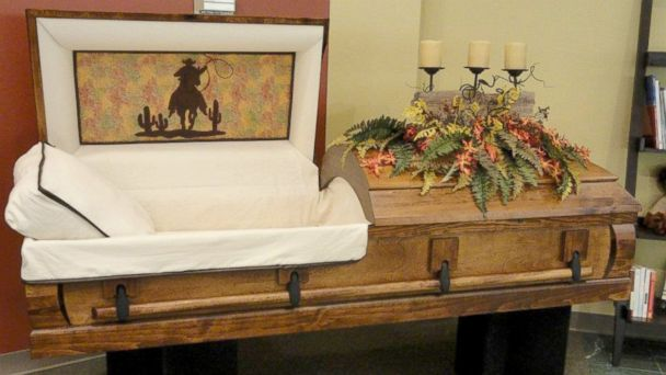 "PHOTO: Til We Meet Again, a company specializing in caskets and urns, has outlets in malls in Texas, Louisiana, Indiana, and Kansas. This is a ""western"" themed casket."