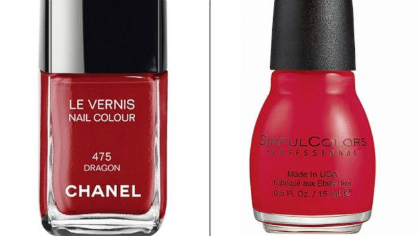 PHOTO: A $27.00 bottle of Le Vernis Nail Colour from Chanel is seen with a $2.00 bottle of GoGo Girl nail polish from Sinful Colors.