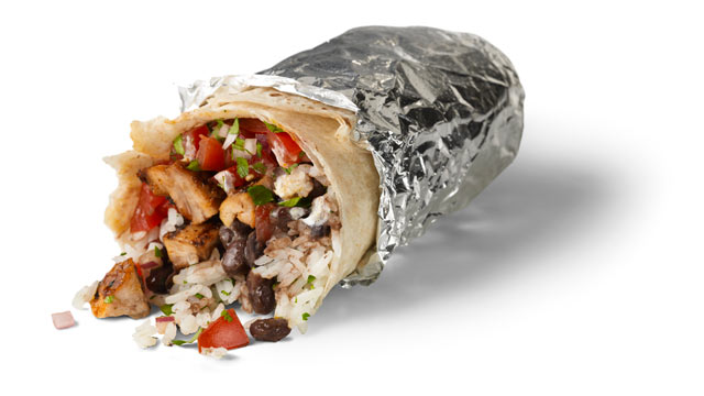 PHOTO: A Chipotle chicken burrito.