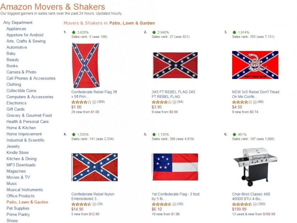 PHOTO: A view of the Amazon Movers & Shakers list created on June 23, 2015 shows a jump in popularity of Confederate flags.