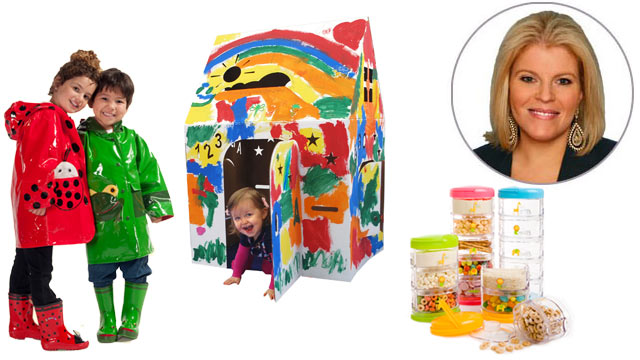 PHOTO: Kidorable rain gear, the Easy Playhouse and food storage by Innobaby, are shown.