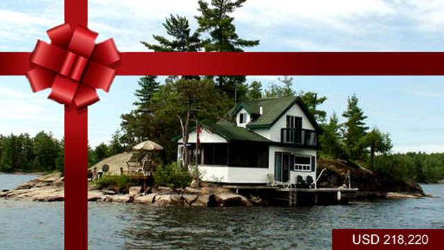 PHOTO: Dokis Marina, Ontario ? CAD$ 218,220 <p> Dokis Marina Island is a half-acre private island developed with a cottage and cabin in scenic French River-Lake Nipissing area. This Island is nicely treed with pines and has a granite shoreline.