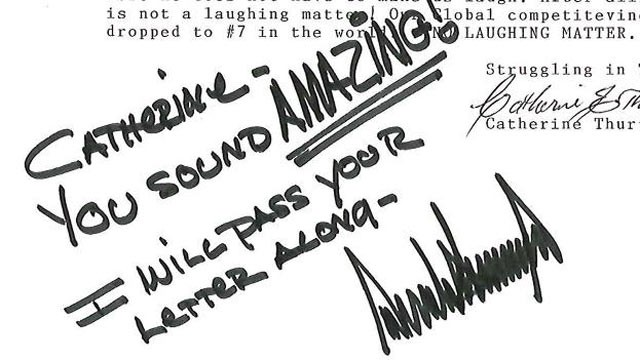 PHOTO: A signed letter from Donald Trump's facebook page.