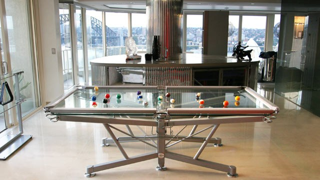 PHOTO: A glass pool table by Nottage Design is shown in this product publicity shot.