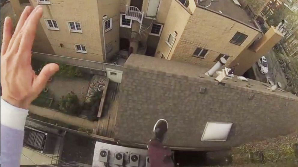 "PHOTO: GoPro published a video called, ""GoPro: Epic Roof Jump,"" showing a stuntman making a rooftop jump while wearing one of their products to their YouTube channel on July 30, 2014."