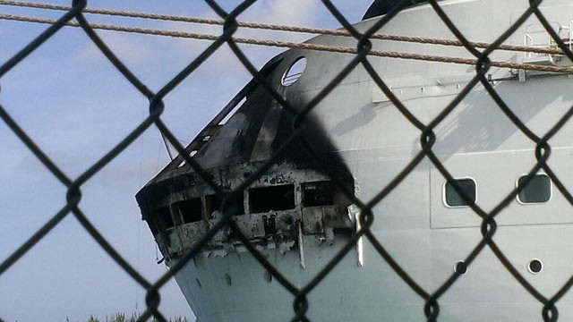 "PHOTO: This photo, posted on Twitter by Royal Caribbean Public Relations on May 27, 2013 with the caption ""damage from the Grandeur of the Seas docked in Freepoty. All guests and crew are safe and accounted for."""