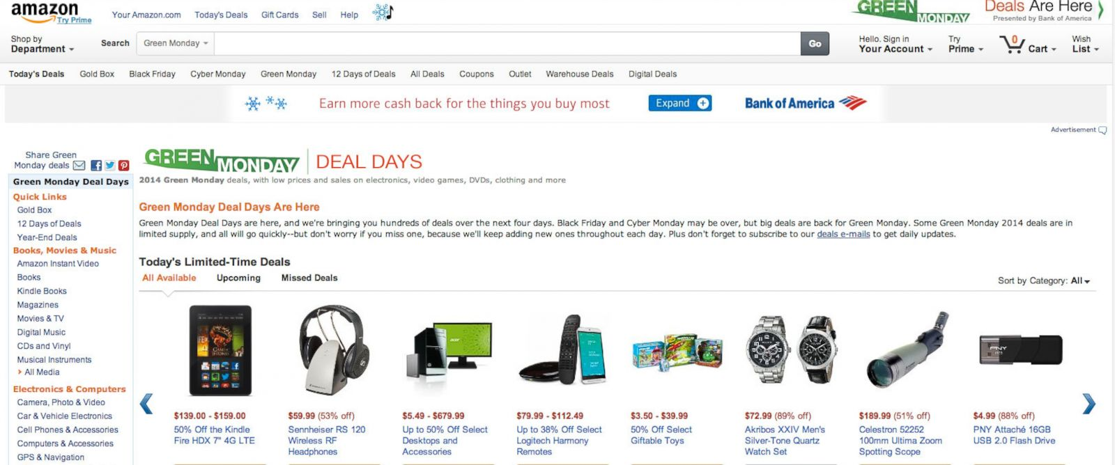 PHOTO: Green Monday deals appear on this screen grab from Amazon.com.