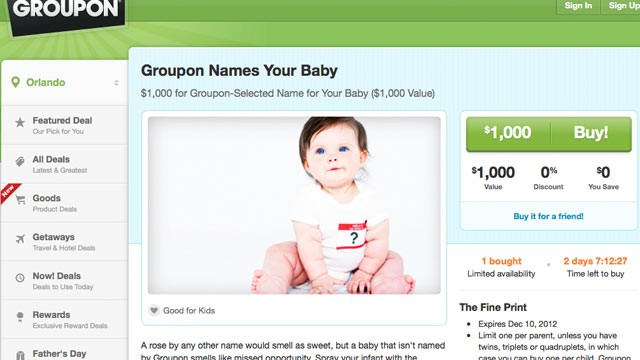PHOTO: For $1,000, Groupon will provide a custom first name for your baby.