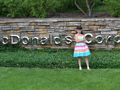 PHOTO: Hannah Robertson on the McDonald's corporate headquarters.