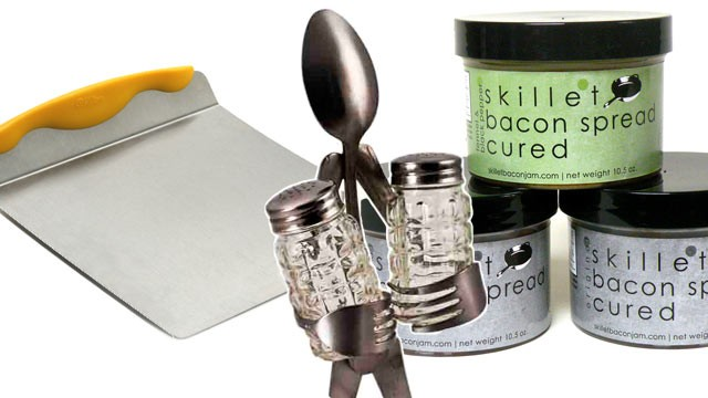 PHOTO: King Arthur Flour pastry scraper, Green Feet salt & pepper shaker, and Skillet Street Foods bacon spreads are shown.