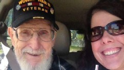 PHOTO: Jaclyn Fraley, pictured with her grandfather, John J. Potter, is hoping to stop her mother from evicting him from the home he built.