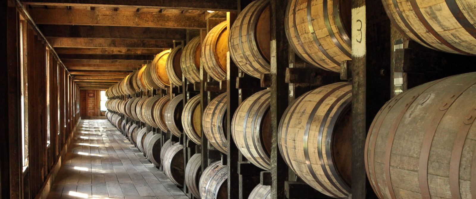PHOTO: Aging barrels sit at the Heaven Hill Distillery in Bardstown, Kentucky on June 27, 2012.