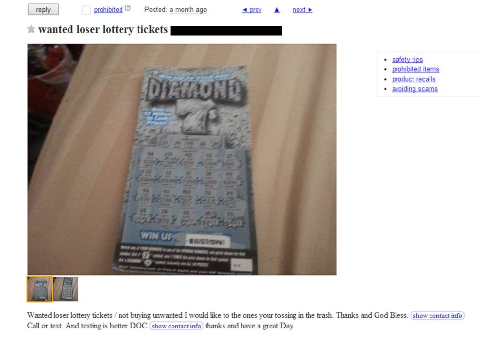 PHOTO: An ad posted to Craigslist in Tennessee asking for losing lottery tickets.