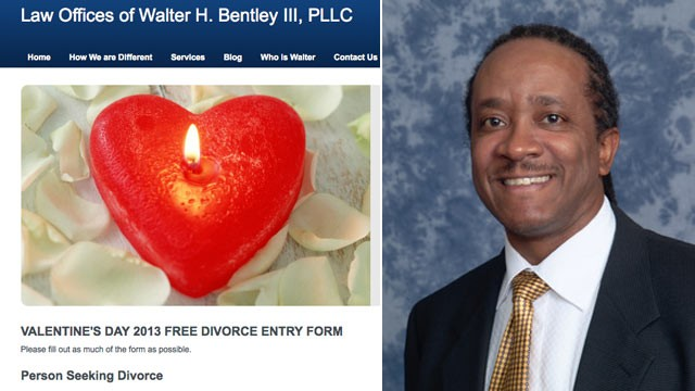 PHOTO: Michigan attorney Walter H. Bentley III is offering some lucky man or woman a Valentine's Day special: a free divorce.