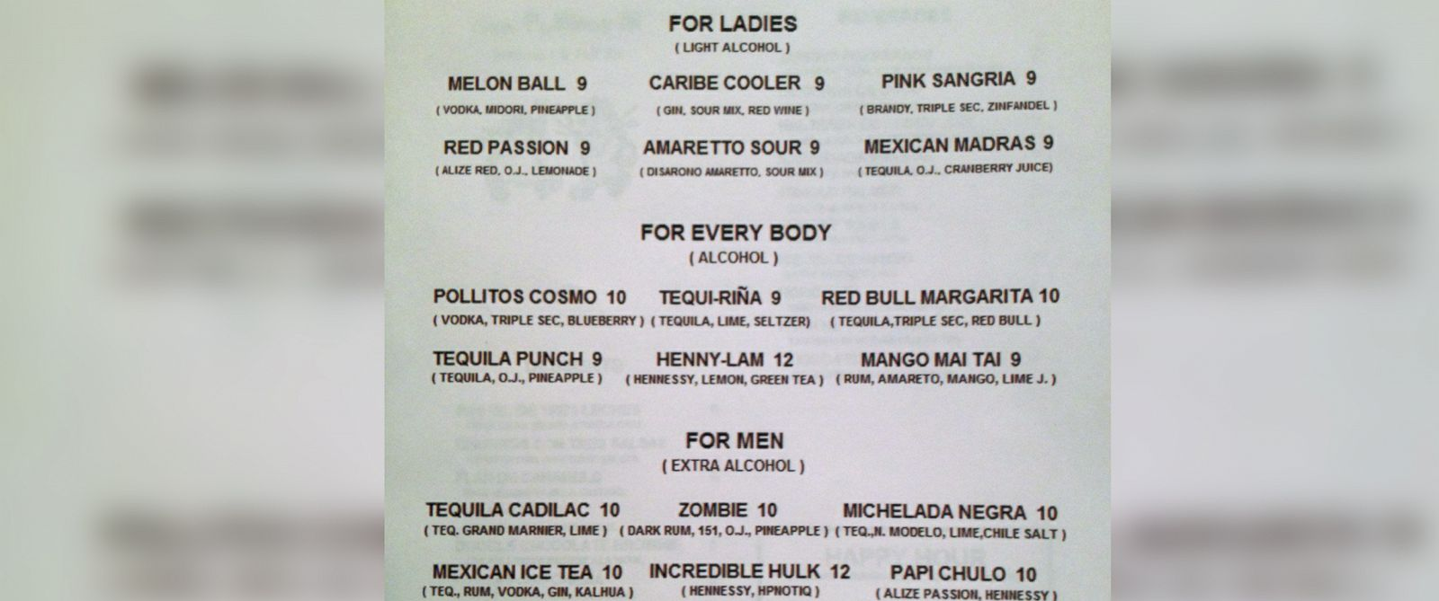 PHOTO: The drink menu for the Los Pollitos III restaurant in Brooklyn, N.Y. lists different categories of drinks for women and men with respectively lower and higher levels of alcohol.