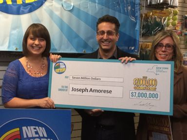 PHOTO: New York Lottery representative Gretchen Dizer, Joseph Amorese, and his wife, Jodi Amorese. Amorese recently won 7 million from a scratch-off ticket.