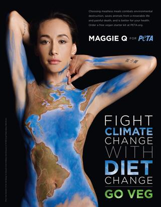 Maggie Q Gets Naked and Painted for PETA