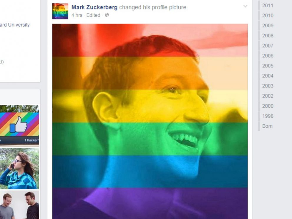 PHOTO: Facebook CEO Mark Zuckerberg is seen in a profile photo that has been overlayed with the colors of the rainbow.