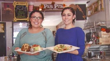 PHOTO: Marquez sisters Vanessa, left, and Jessica, right at their restaurant Papa Pita.